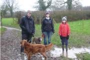 FOBB members Bruce Dagley, Bridget Green and Jem Green with dogs Poppy and Marma