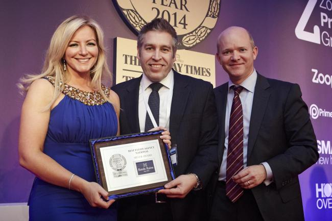 From left, entrepreneur Michelle Mone, Reeds Rains managing director Oliver Blake and Zoopla commercial director Jon Notley