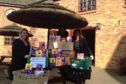 Delivering the Eggs – Janet Walsh (L) and Amy Tagoe (R) of Stephensons with Helen Crowther of the Children's Adventure Farm Trust