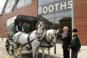 Edwin Booth arriving at the new store in Hale Barns