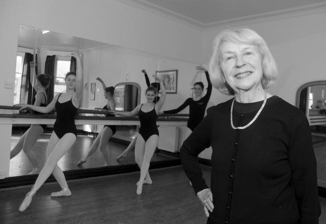 June Rendell with some of the school's ballet students