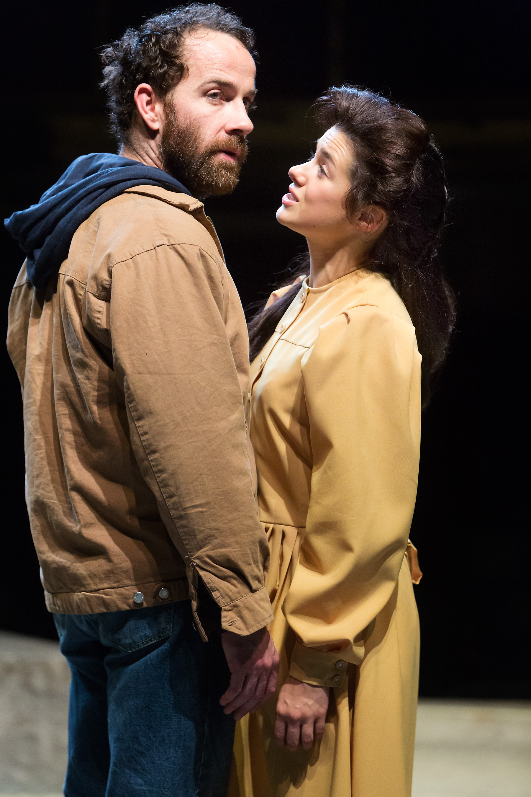 Jonjo O'Neill as John Proctor and Rachel Redford as Abigail Williams in The Crucible