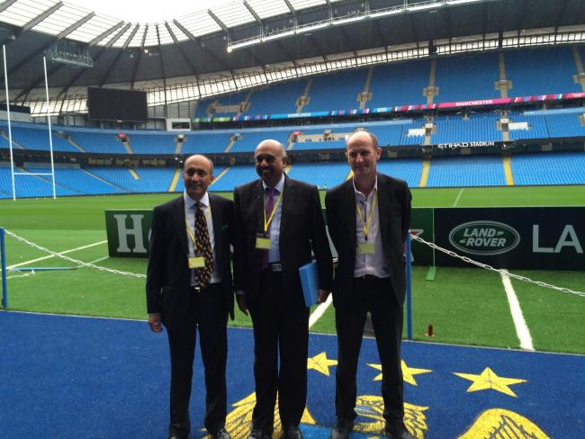 Left to right: Sunil Mohindra, Melwyn Rego and Chris Bishop