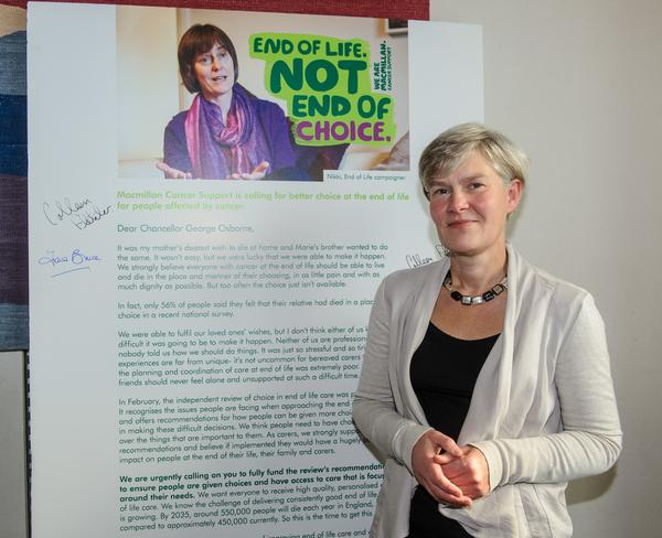 Kate Green MP with the Macmillan end of life care petition