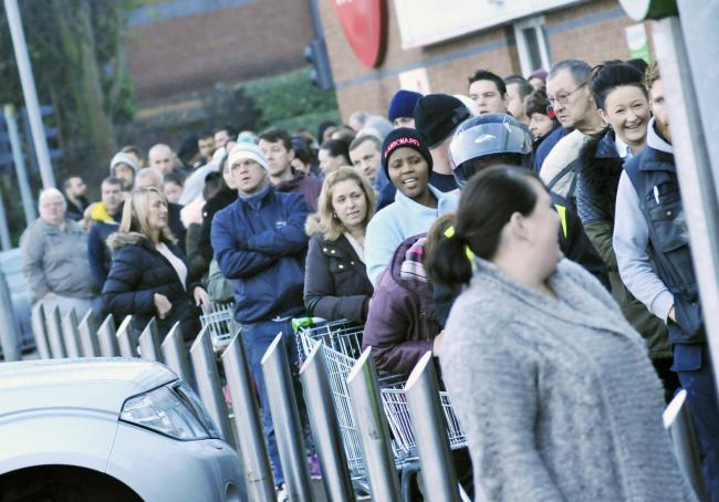 Queuing shoppers on last year's Black Friday