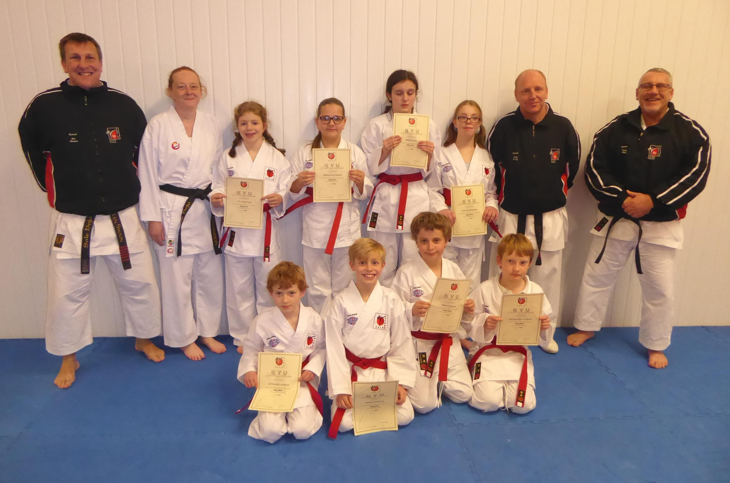 Youngsters from High Functioning Trafford, who passed their first karate grades