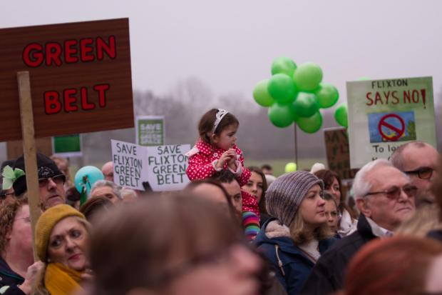 Messenger Newspapers: Campaigners of all ages turned out in force to back a Save Flixton Green Belt demonstration