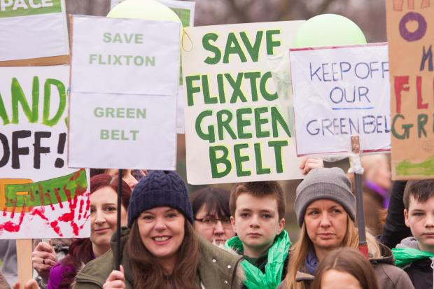 Messenger Newspapers: Campaigners turned out in force to back a Save Flixton Green Belt demonstration