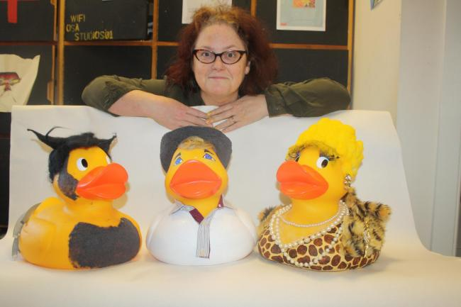 Jo Cushing with her famous ducks