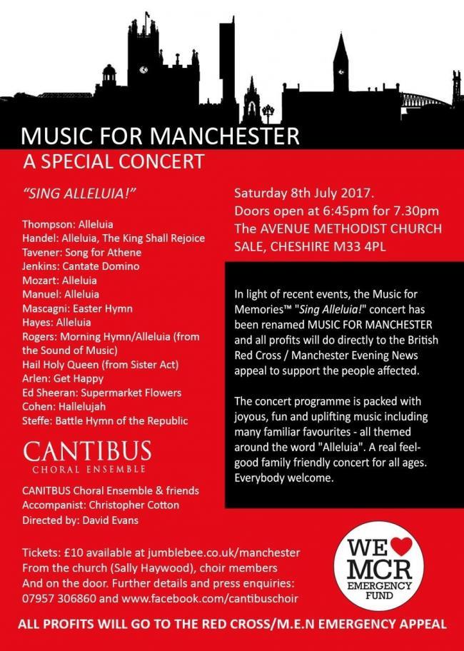 Sale choral concert evening for Manchester Arena bombing