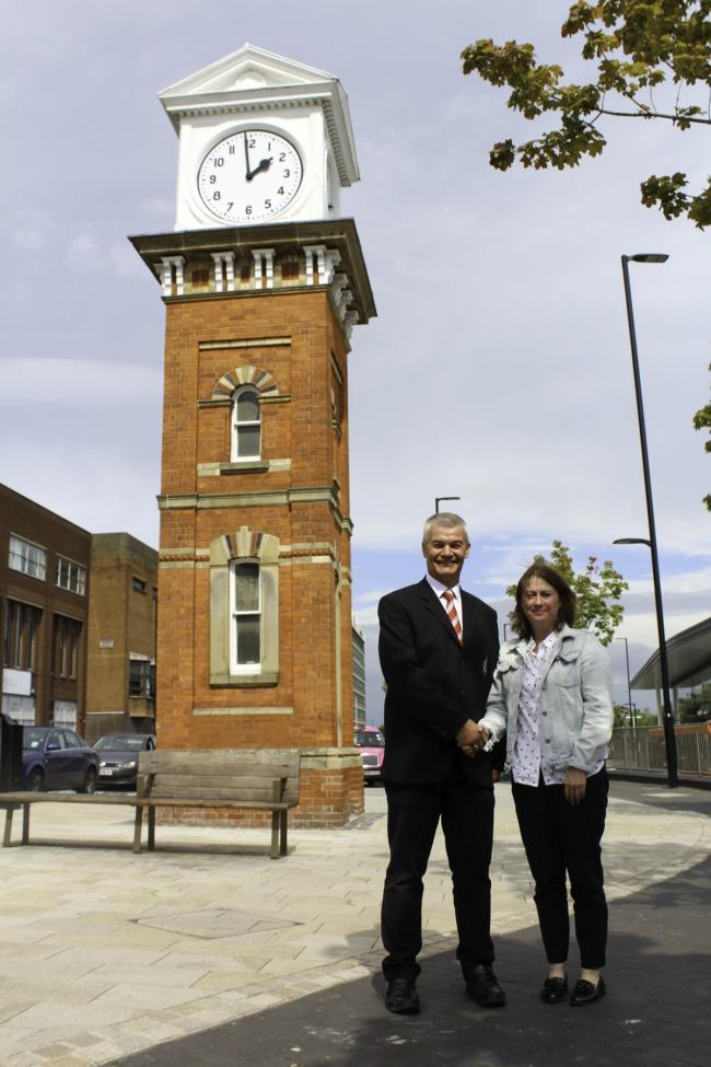 Graham Rowley, chairman of Altrincham Football Club and Katie Bland, BID manager for Altrincham Unlimited