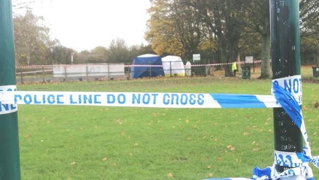 The crime scene at the car park at Cross Lane park. Photo: Darren Marsden