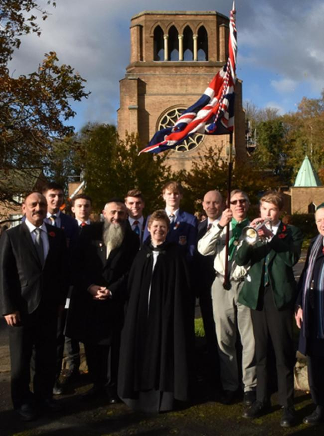 Multi denominational religious leaders at the Hale Barns Cenotaph