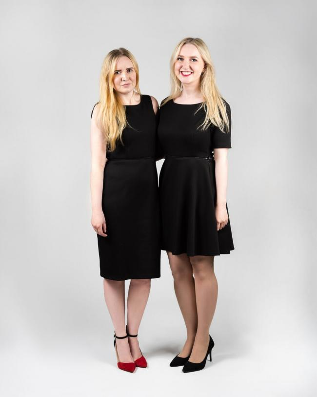 Laura and Rachel Beattie wearing two versions of the Careaux dress