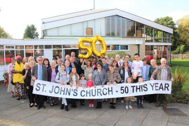 St John's ministers the Rev. Rodney Green and the Rev. Mo Surrey ready for the 50th Anniversary celebrations with members of St. John's congregation