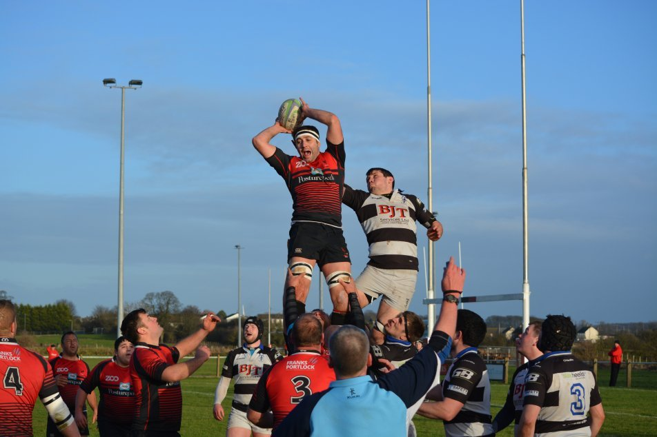 Aspatria win the ball from a line-out against Trafford MV