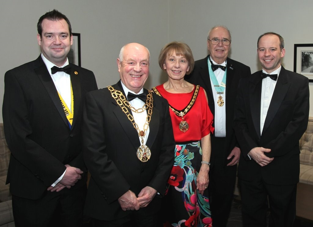 President of Altrincham Rotary Club Stephen McHugh, Mayor Councillor Jonathan Coupe, Lady Mayoress Diane Coupe, Rotary District 1285 governor Eric Cowcil, guest speaker Adam Partridge
