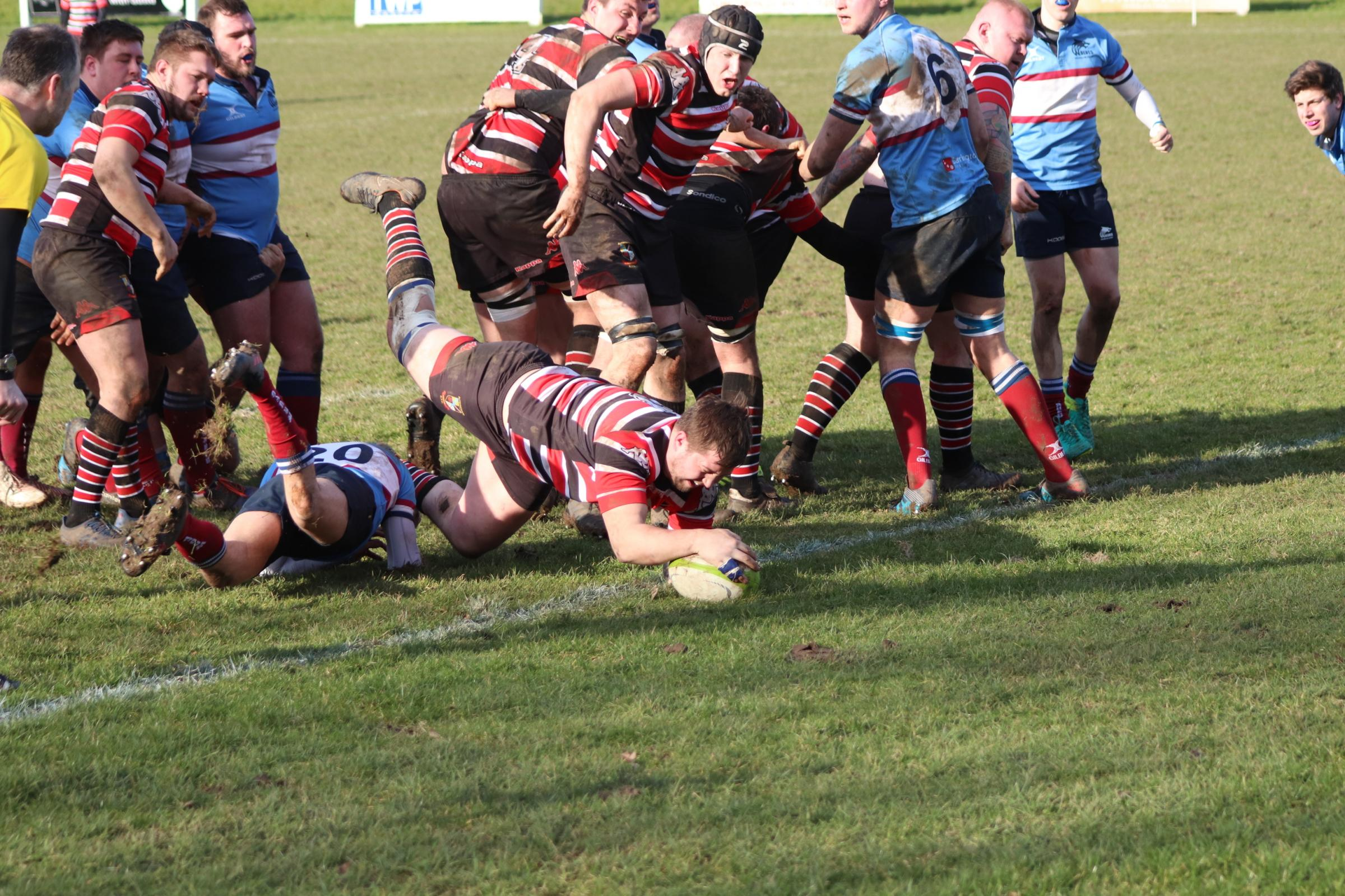 Andrew Frost scores a try for Kersal. Picture by Tracy Bailey
