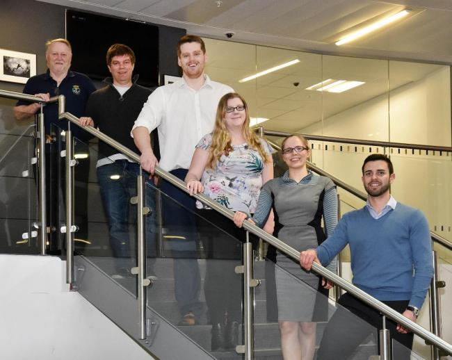 From left, Peter Greenhalgh, Andrew Marwick, Andrew Thomson, Emily Richardson, Harriet Windebank from Costain and Pedro Henriques from Mott Macdonald