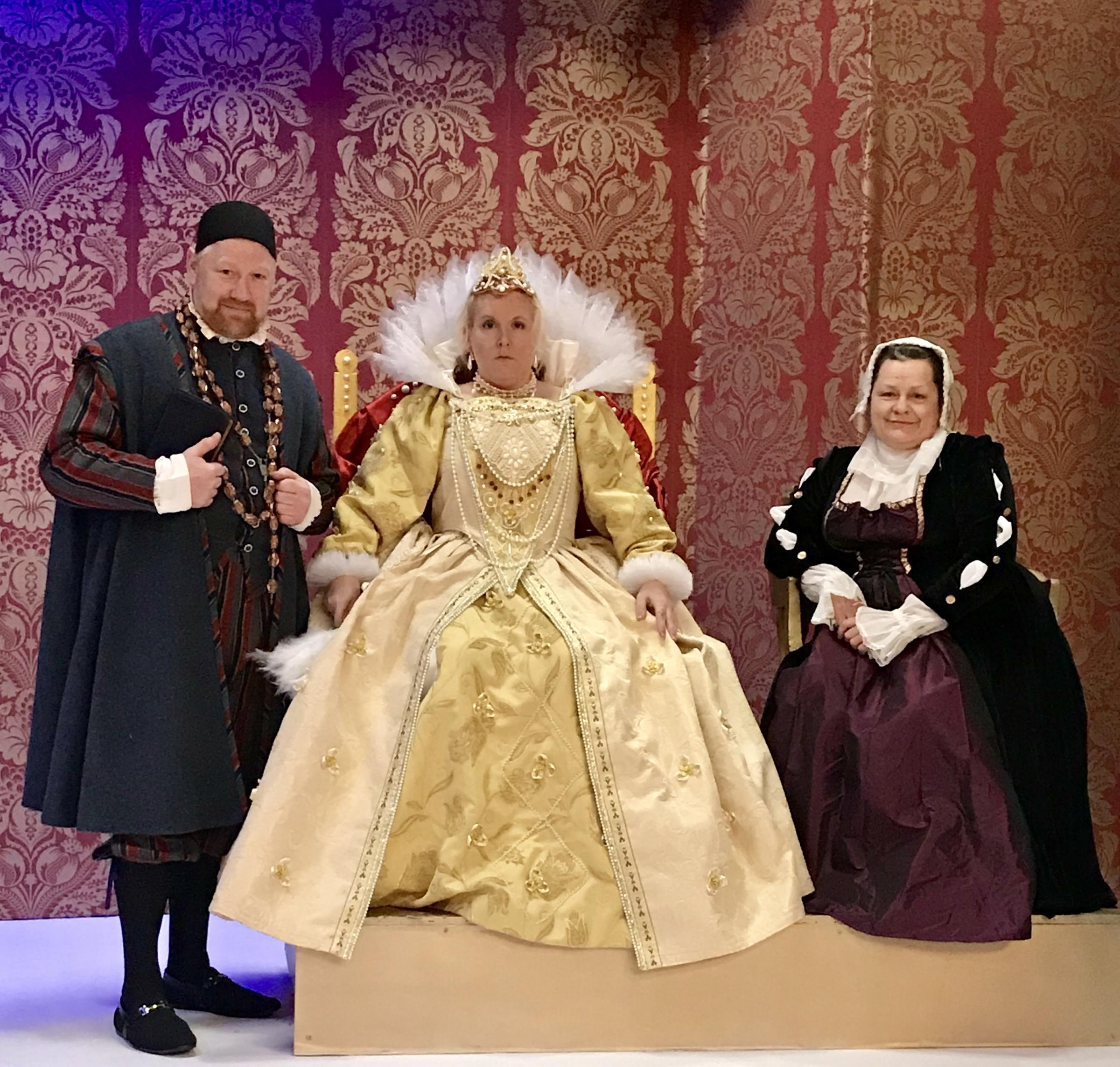 Paul Rendel as Lord Melchett, Jenny Hollinshead as Queenie and Janet Taylor as Nursie