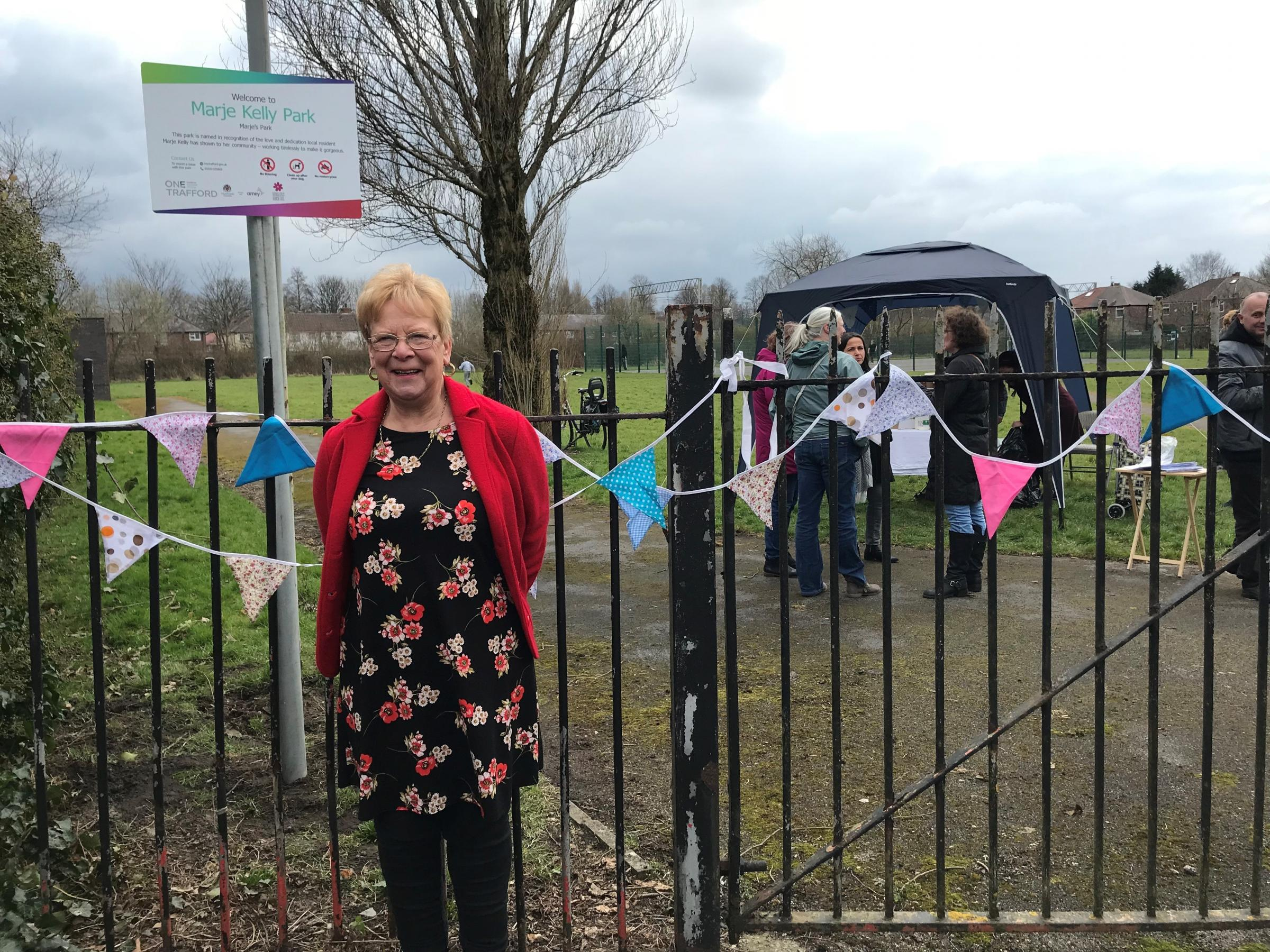 Marje Kelly outside the former Gorse Park which has been renamed after her