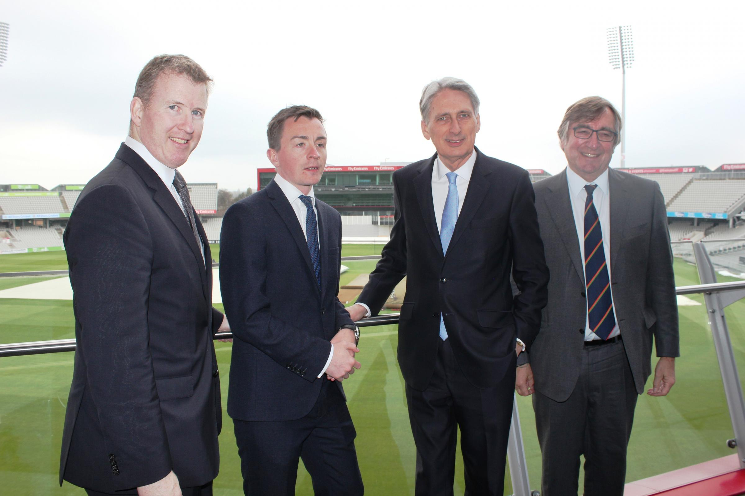 From left, Lancashire Cricket Club CEO Daniel Gidney, Trafford Council Leader Sean Anstee, Chancellor Philip Hammond and LCC chairman David Hodgkiss