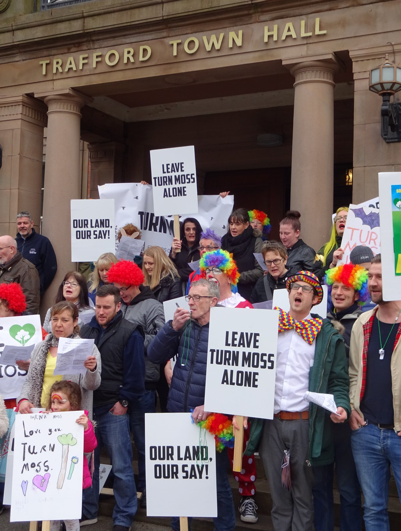 Friends of Turn Moss campaigners outside Trafford Town Hall. Picture: PaulHarnett