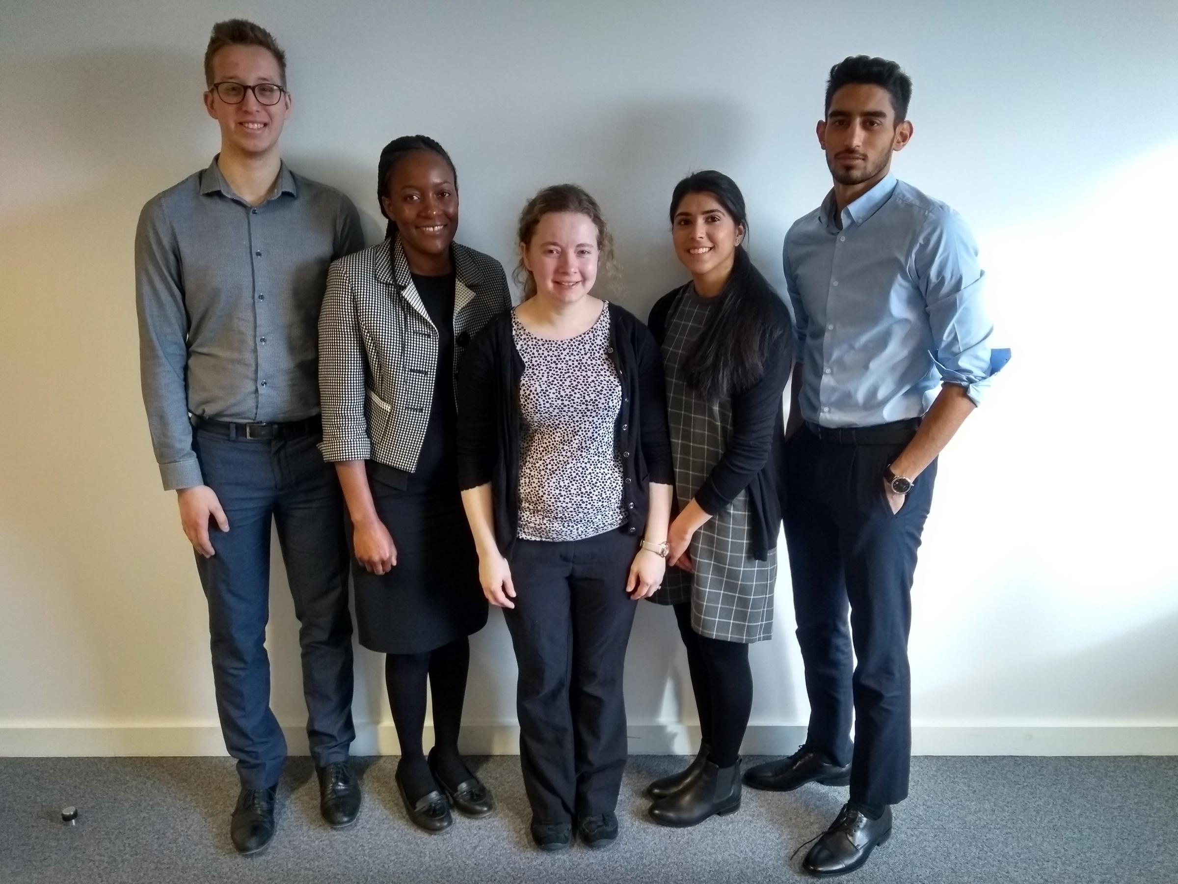 From left, Alex Yusuf, Fari Nzuma, Emma Price, Farhana Patel and Haseeb Khan
