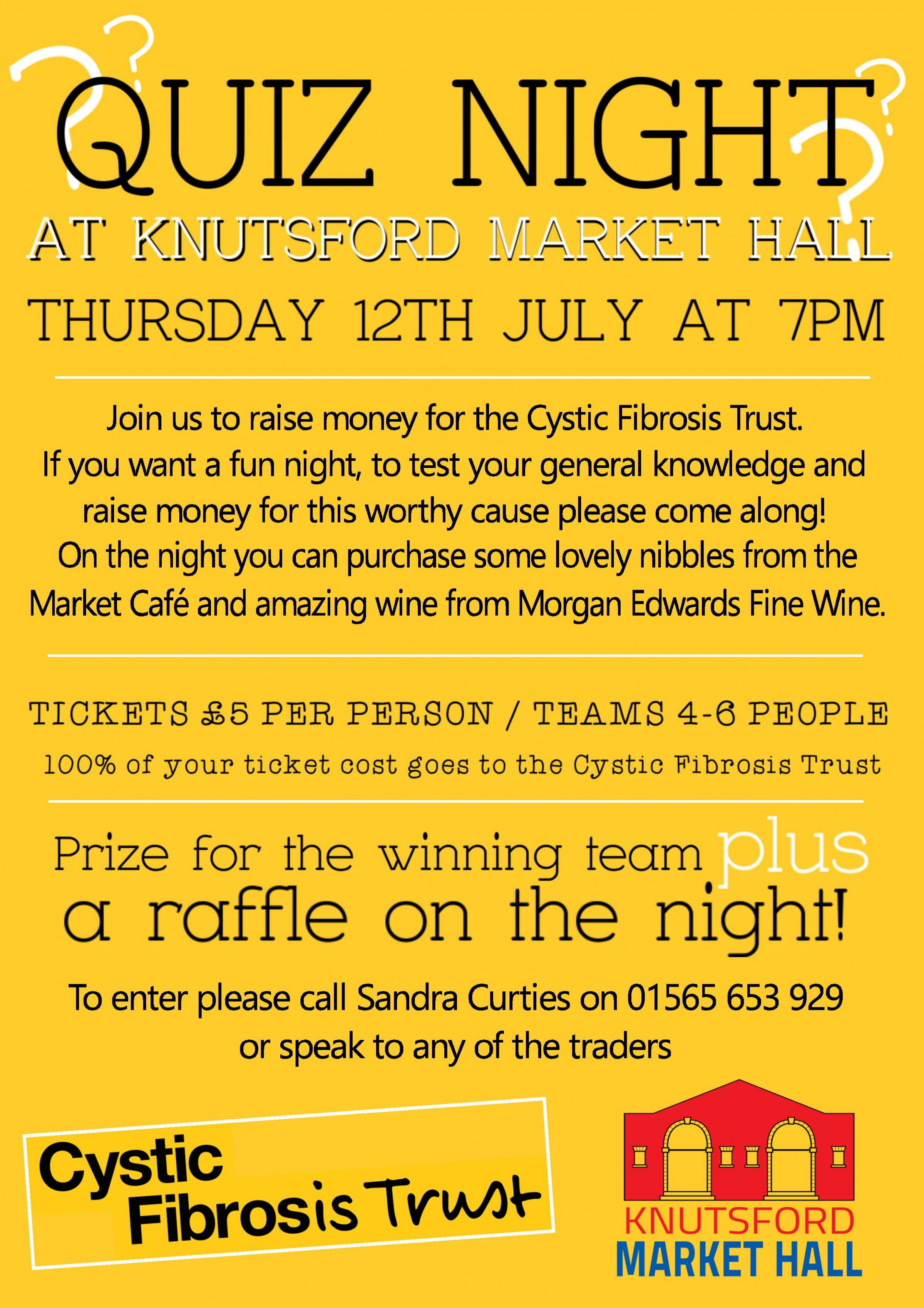 Quiz Night at Knutsford Market Hall in aid of Cystic Fibrosis Trust