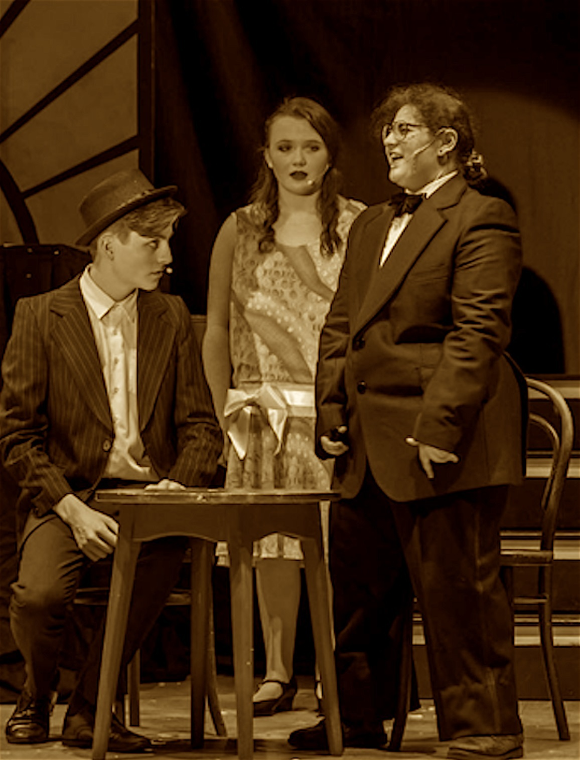 From left, Harry Rapinett as Bugsy Malone, Niamh Mallen as Blousey and Juliette Latham as Fat Sam