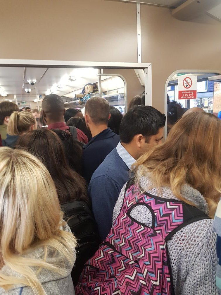 CROWDED: Northern Rail service from Bolton to Manchester yesterday morning
