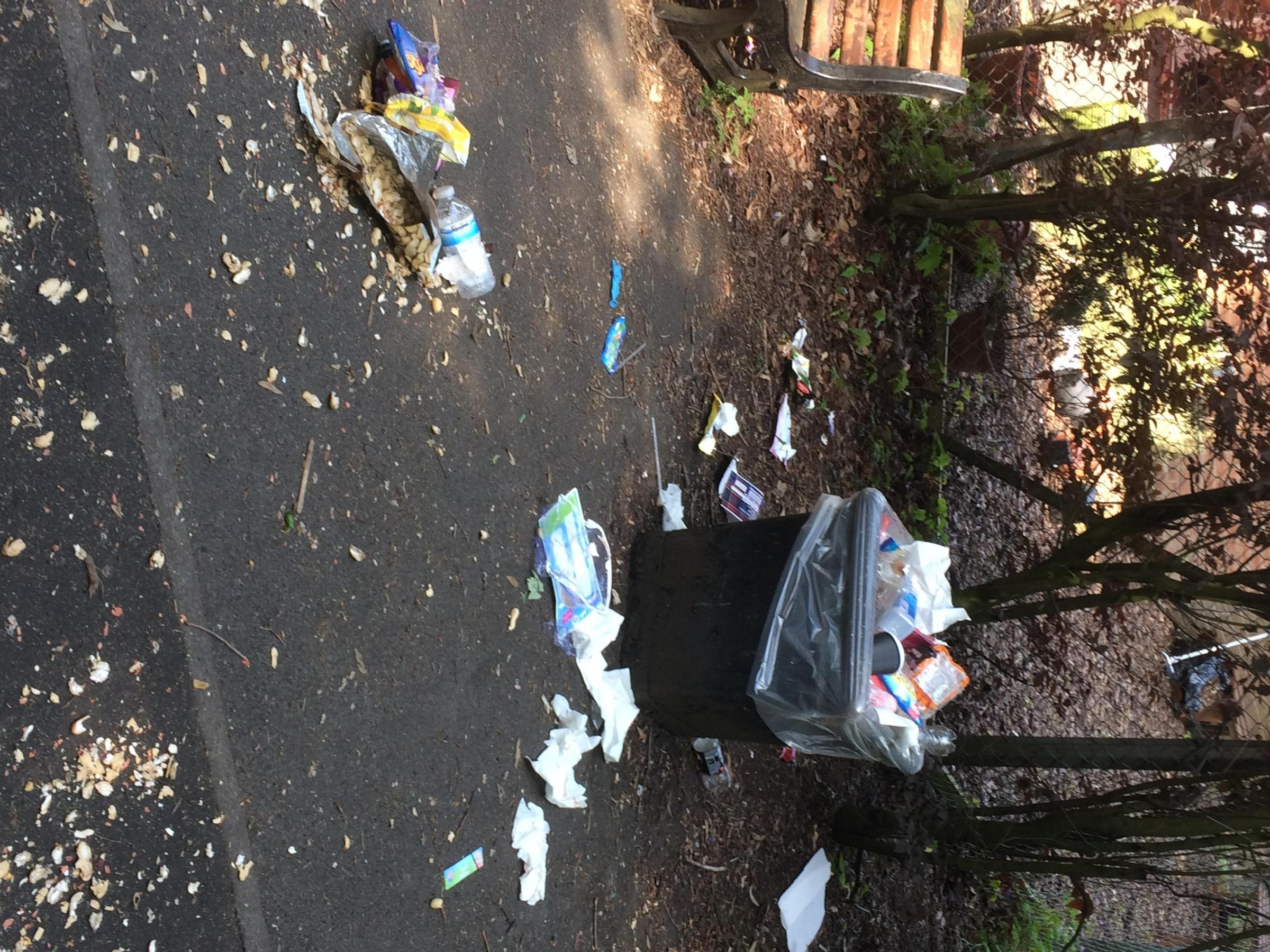 Trafford Council has been criticised for overflowing bins at weekends
