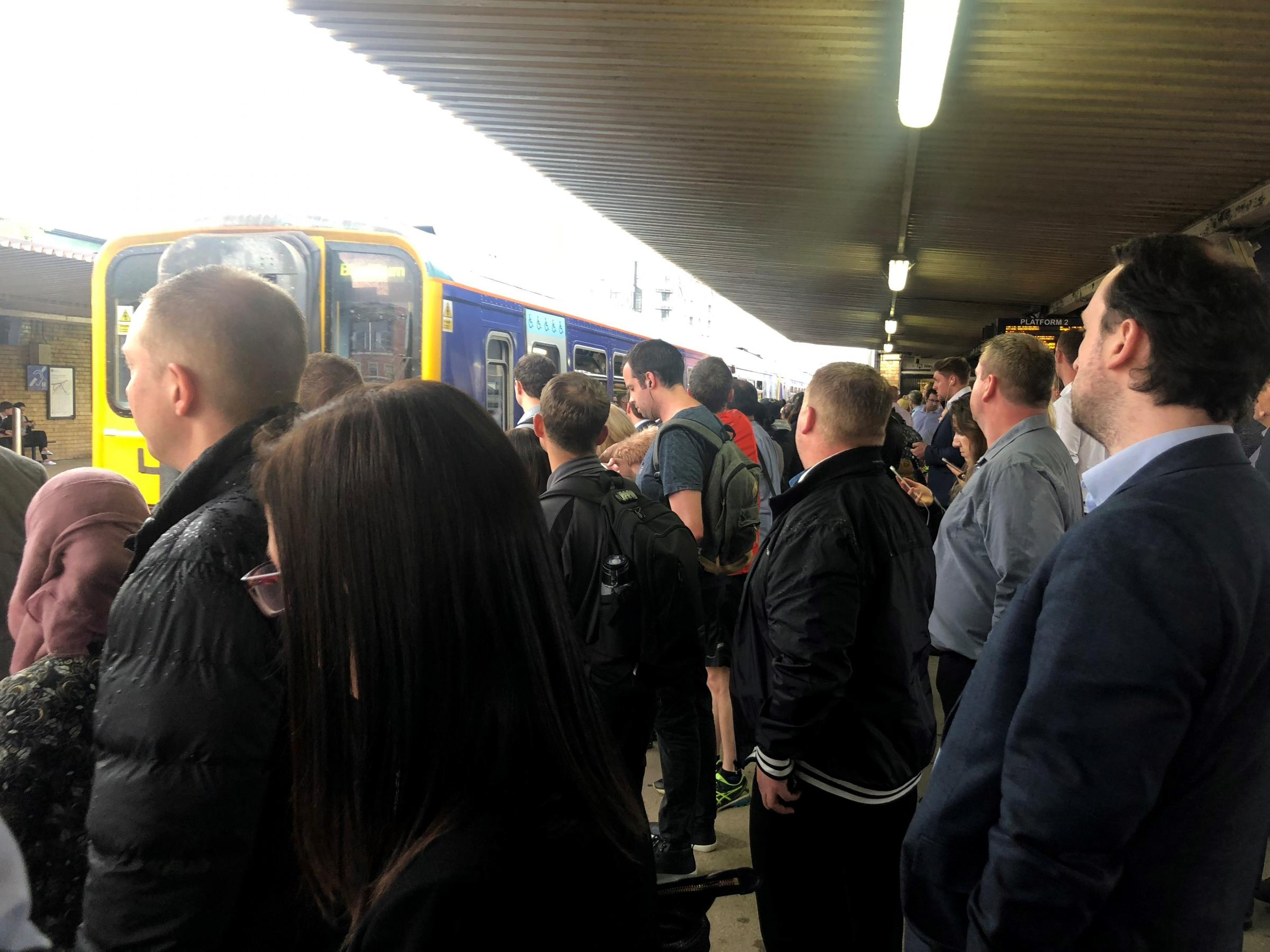 PACKED: Commuters trying to board a Northern train