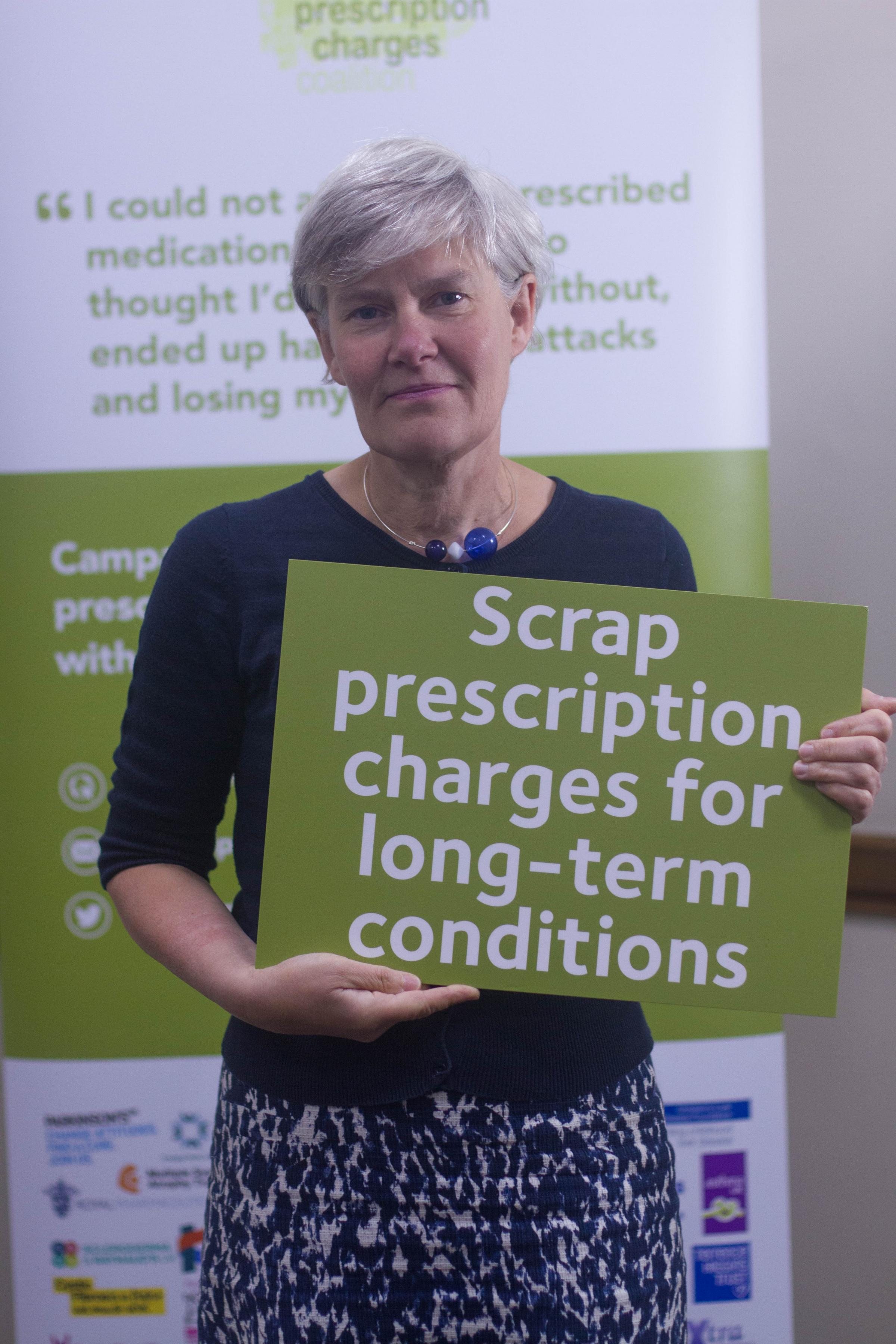 Kate Green, MP for Stretford and Urmston, has pledged to help scrap prescription charges for people in England with a long-term condition.