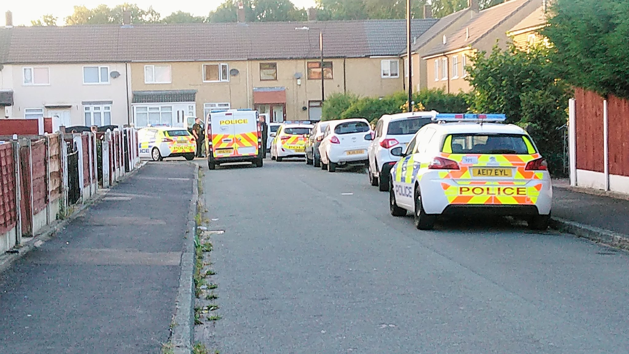 Police descended on Cranberry Road, Partington yesterday evening (Thursday, August 9). Pic-Darren Marsden.