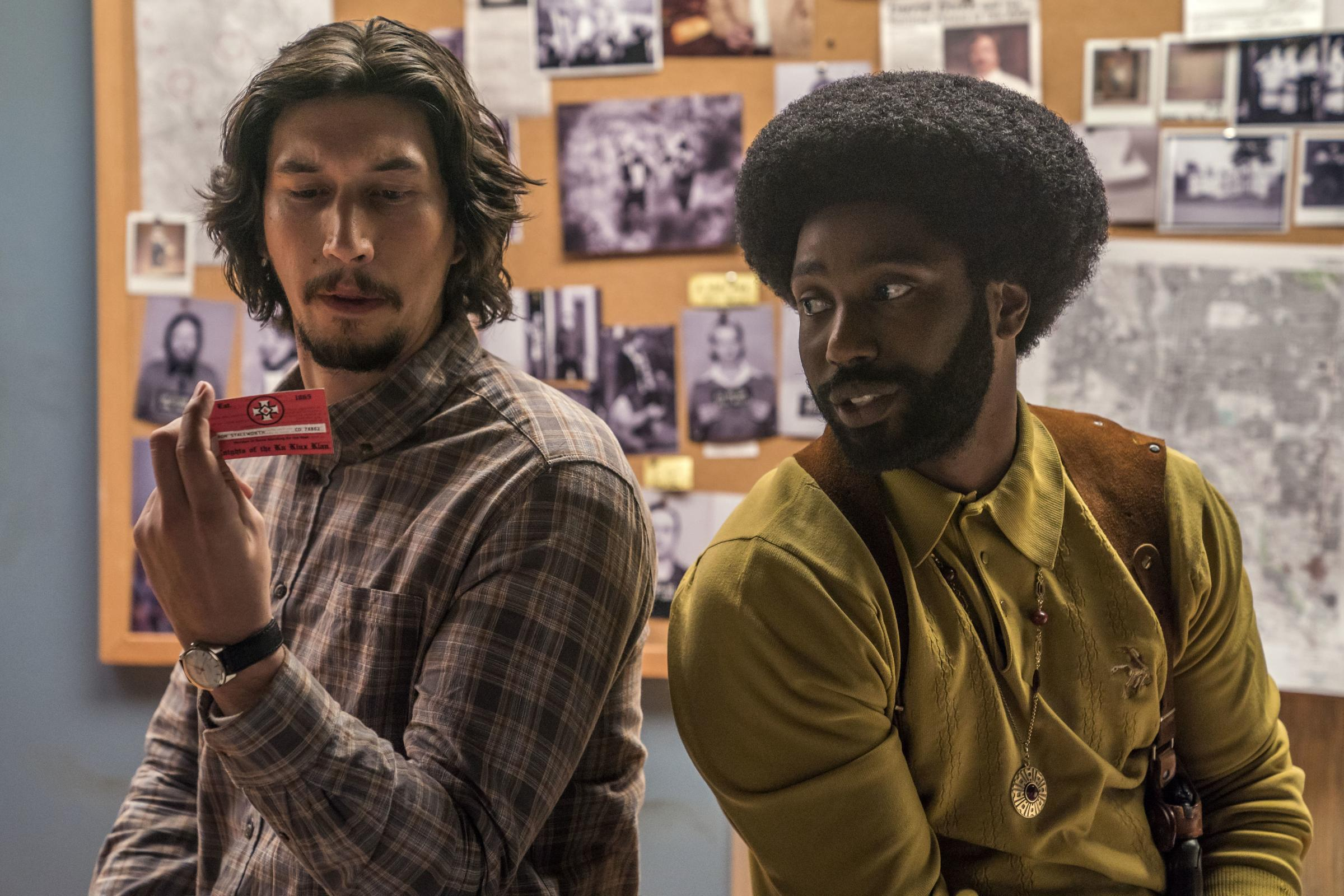 Adam Driver as Detective Flip Zimmerman and John David Washington as Detective Ron Stallworth