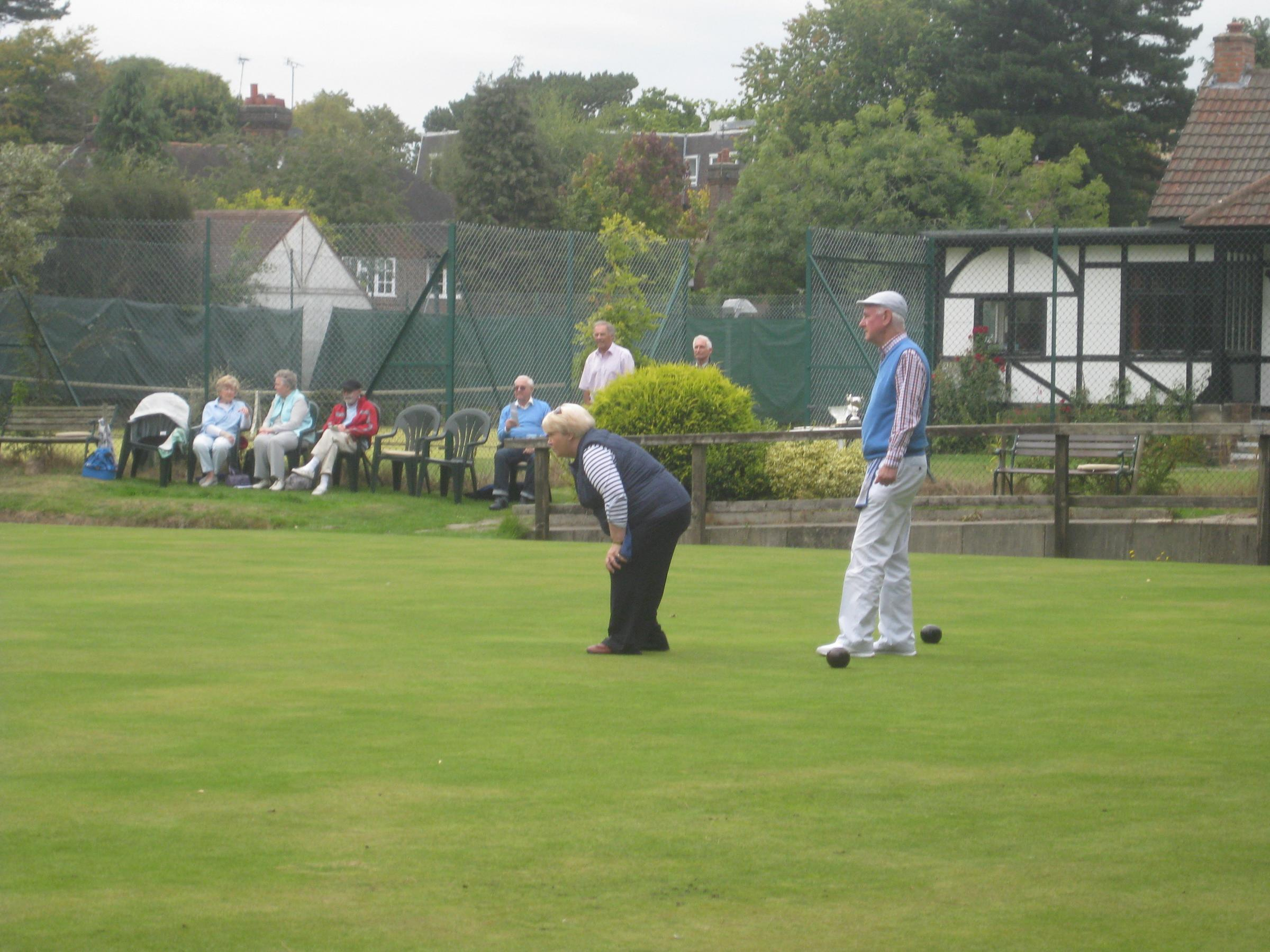 Bowdon Bowling Club secretary, Christine Armstrong with club chairman and captain, John Watson.