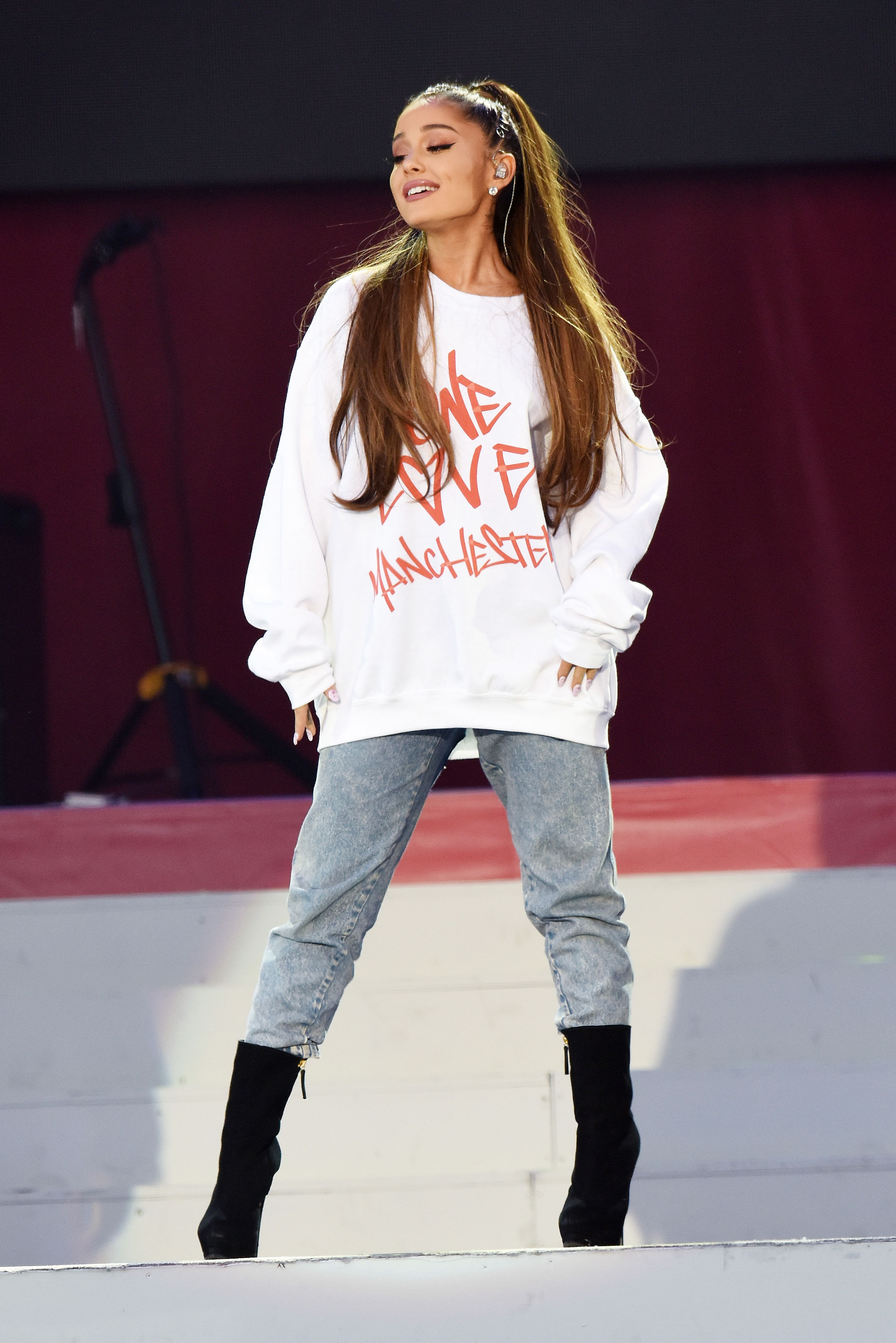 PA File Photo of Ariana Grande performing during the One Love Manchester benefit concert for the victims of the Manchester Arena terror attack in 2017. See PA Feature NOSTALGIA Beauty Long Hair. Picture credit should read: Dave Hogan/PA Photos. WARNING: