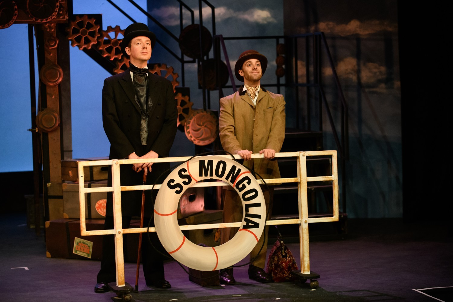 Jamie Sloan as Phileas Fogg and Tim Cooper as Passepartout in Around the World in 80 Days at the Garrick Playhouse.