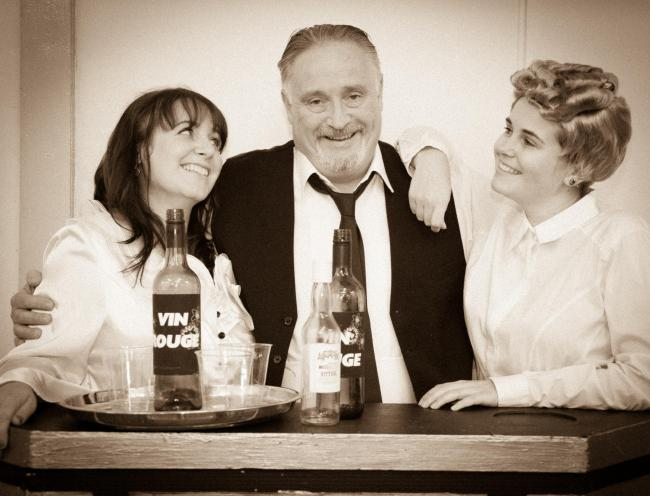 Yvette on the left played by Michelle Speakman with Rene, played by Chris Silke (centre) and Mimi played by Megan Collier (right).