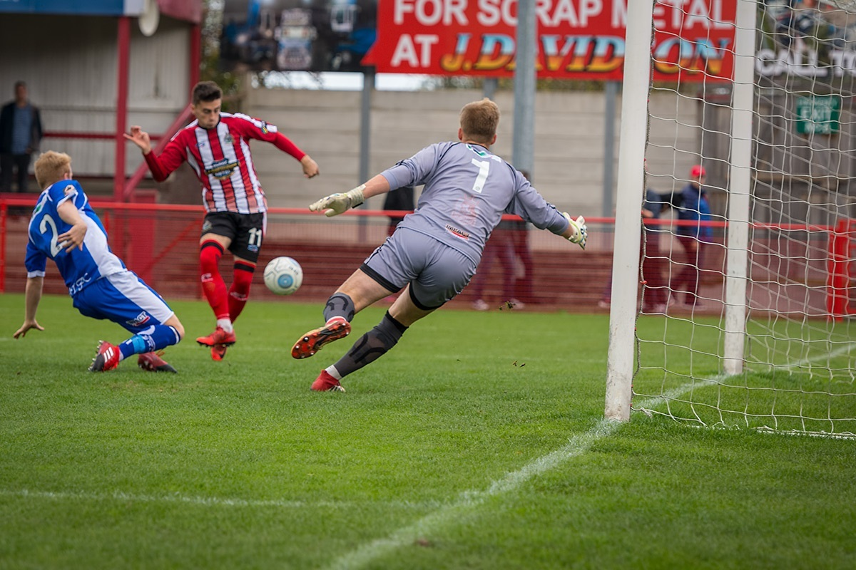 Alty loanee Owen Dale opens the scoring against Alfreton. Picture by Michael Ripley Photography