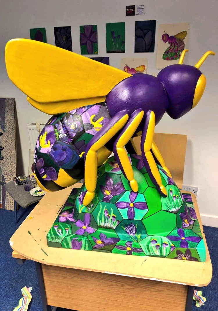 The Rotary Crocus Bee on display at Opti-Eye in Regent Road, Altrincham.