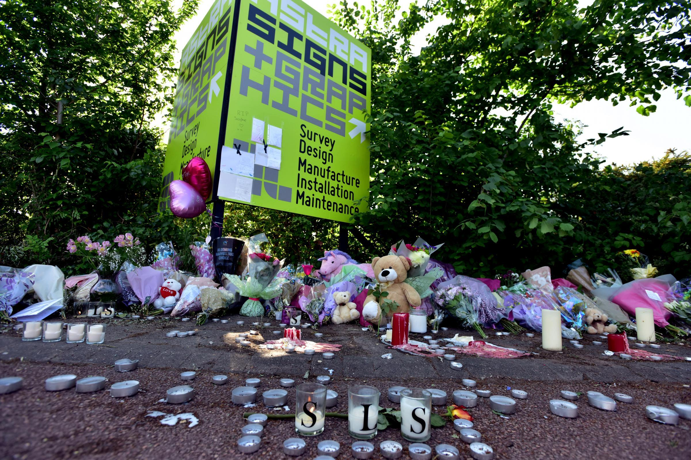 Crash site in Trafford Park where Sophie Smith, 19, was killed.