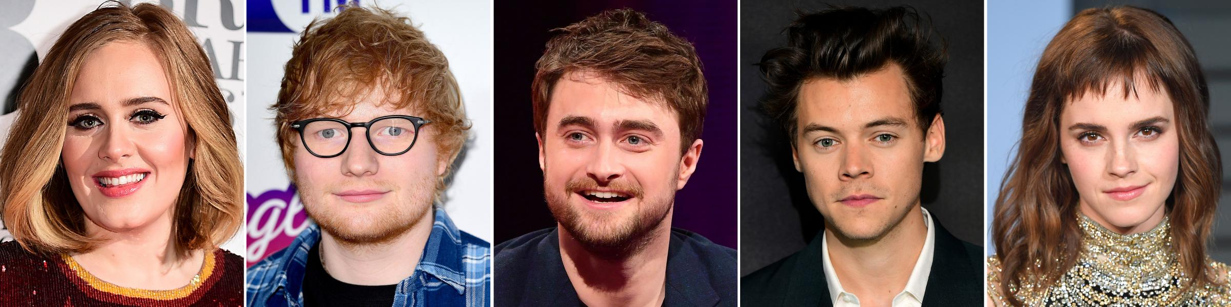 Embargoed to 0001 Tuesday October 30..File photos of (left to right) Adele, Ed Sheeran, Daniel Radcliffe, Harry Styles and Emma Watson, who fill the top five positions in heat magazine's annual guide to the UK's wealthiest stars aged 30 and under.