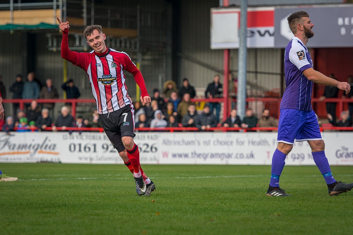 Altrincham's John Johnston scored twice against Ashton United. Picture by Michael Ripley Photography