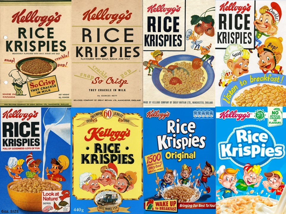 Rice Krispies boxes through the years