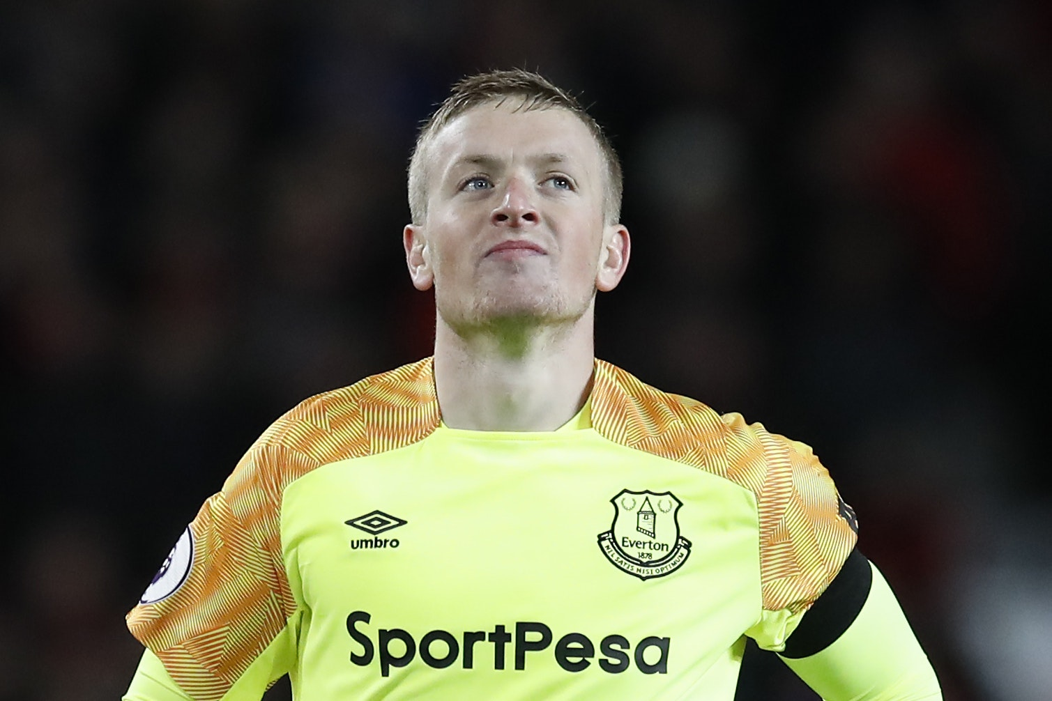 Jordan Pickford was back in action for Everton after his derby blunder