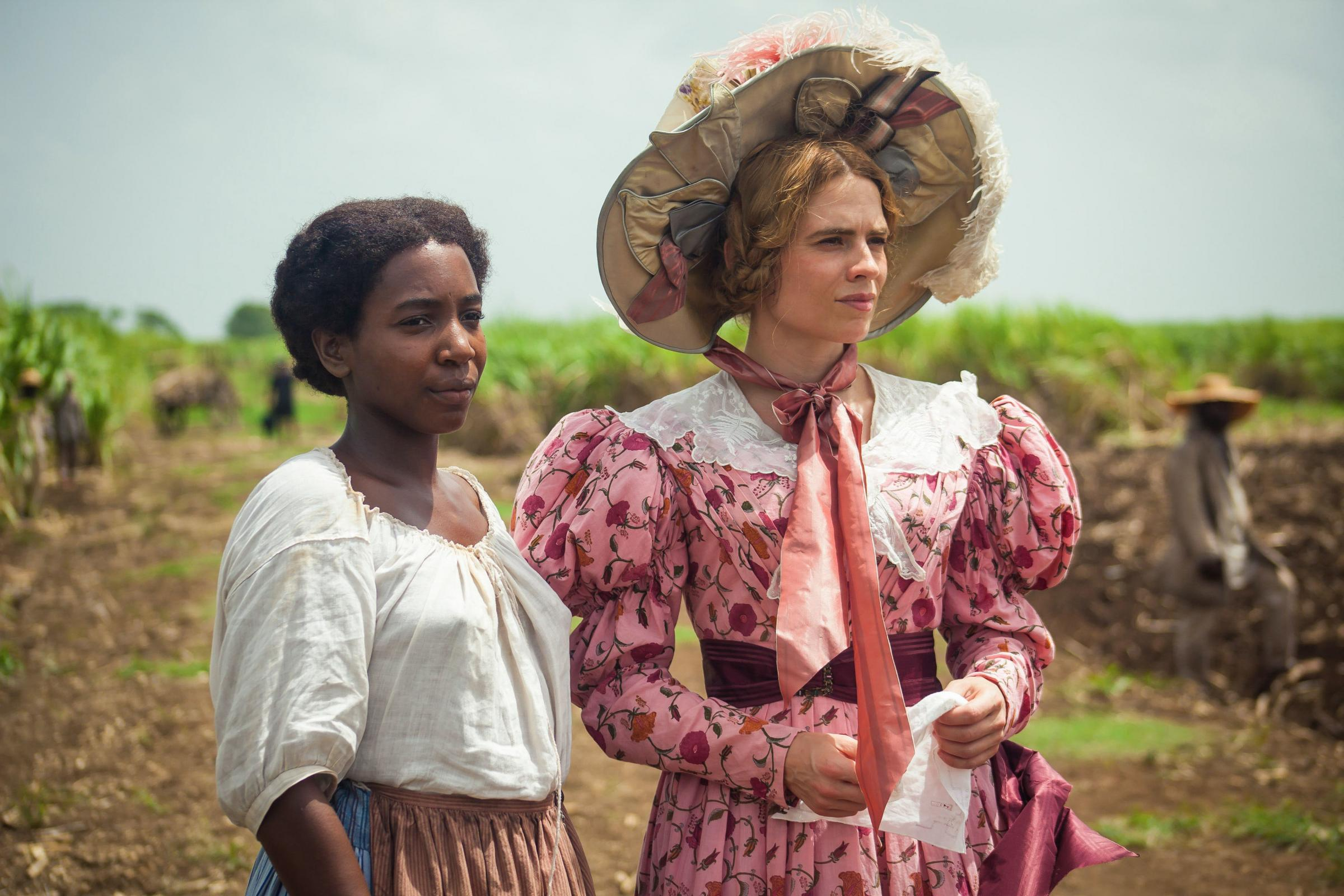 Tamara Lawrence, left, as July and Hayley Atwell as Caroline Mortimer in the new TV adaptation of Andrea Levy's best-selling novel The Long Song