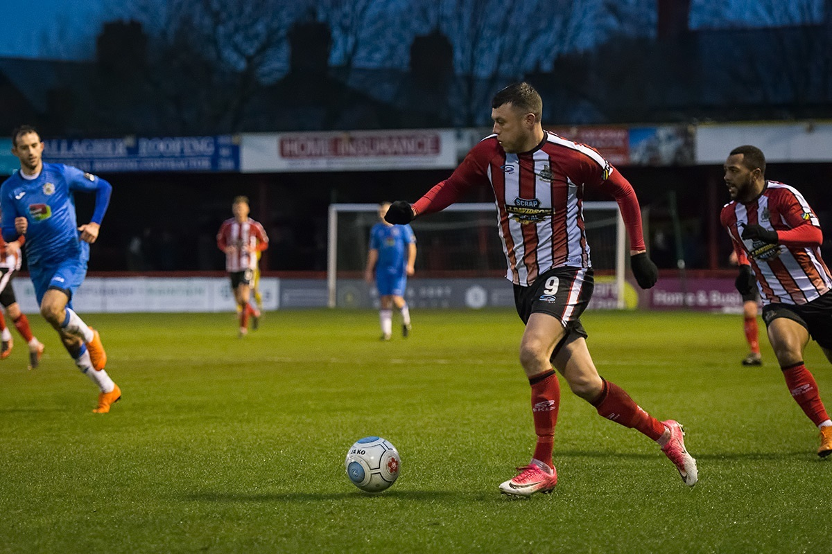 Alty's Jordan Hulme in action against Stockport County. Picture by Michael Ripley Photography