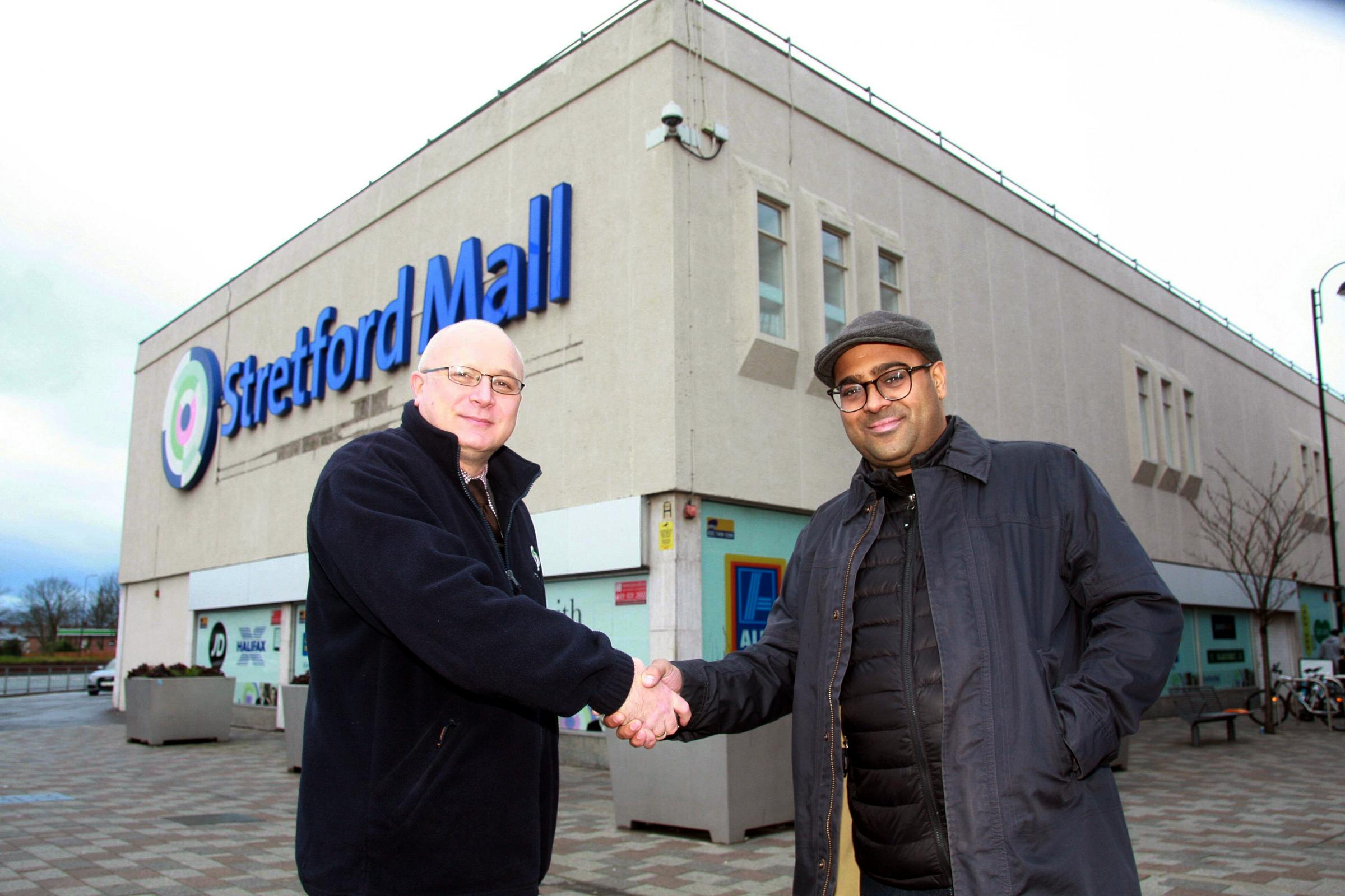 Stretford Mall manager Gareth Wilkins welcomes Mital Morar